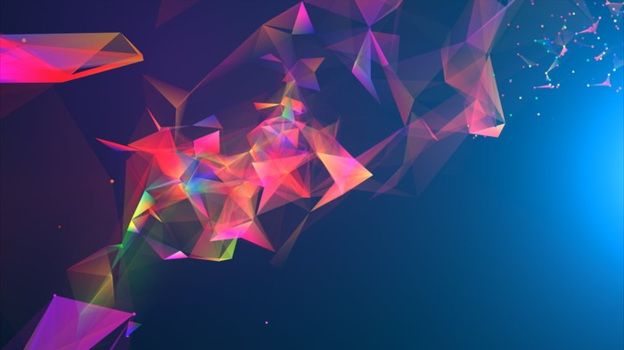 An abstract band of prism-like images curving across the screen