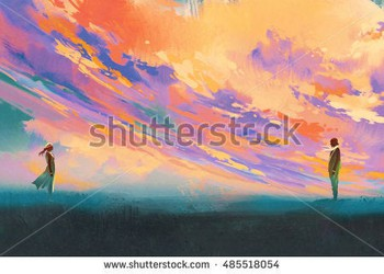 stock-photo-man-and-woman-standing-opposite-of-each-other-against-colorful-sky-illustration-painting-485518054