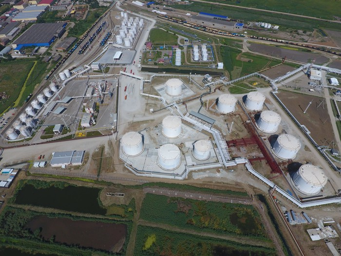 An aerial view of an oil processing plant