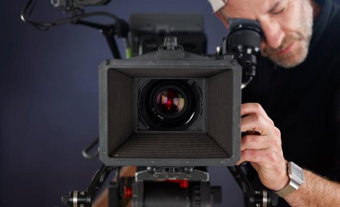 Cameraman working with cinema camera