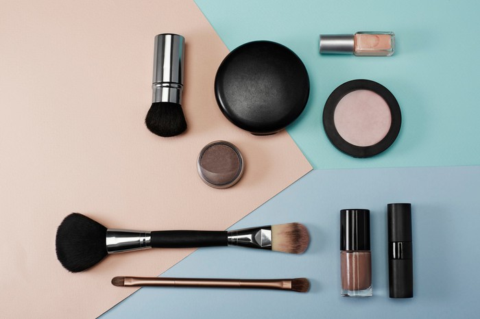 Various makeup supplies on a table