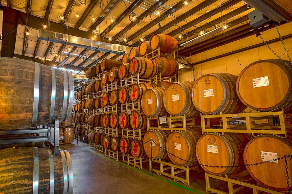 Beer barrels at Wicked Weed Brewing