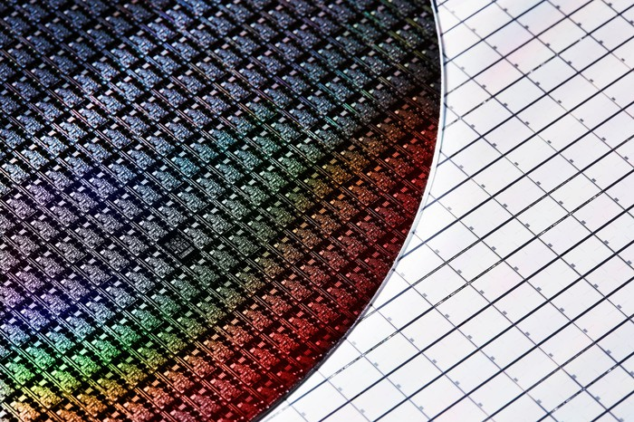 Semiconductor wafer on graph paper