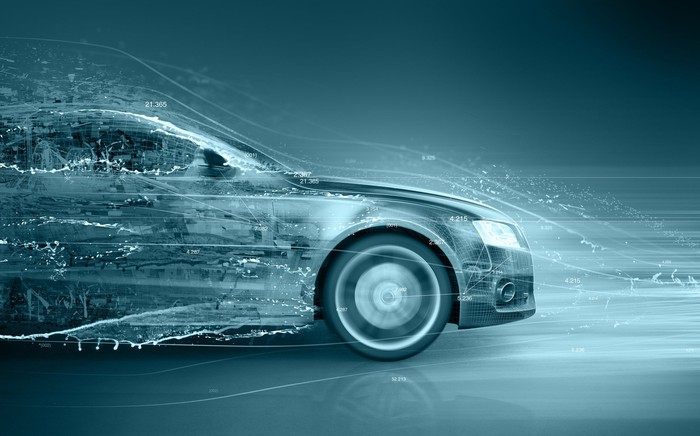 Rendering of a modern car driving through a digital headwind, all in shades of blue and gray.