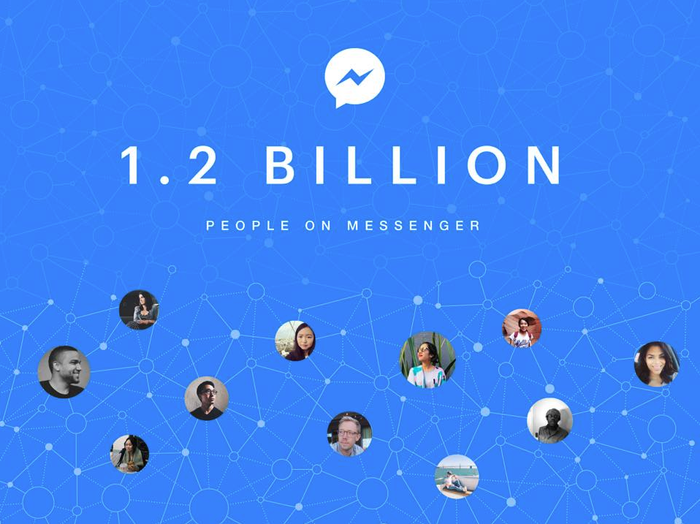 """Facebook Messenger icon with words """"1.2 billion people on Messenger"""" and photos of numerous people linked together."""