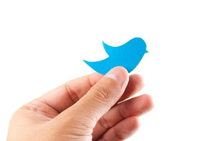 Hand holding blue construction paper cutout of Twitter bluebird logo.