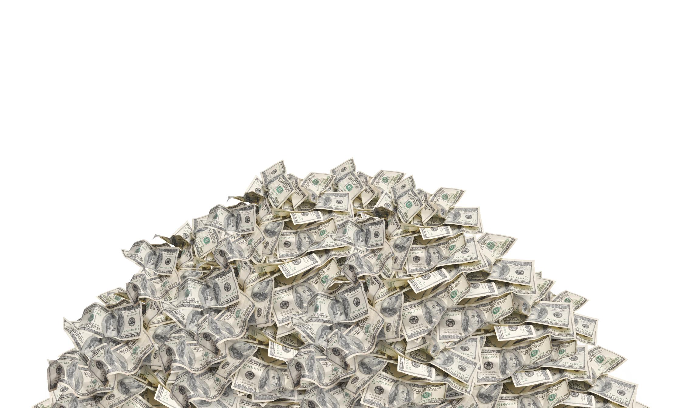 A pile of dollar bills