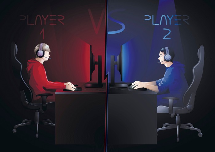 Illustration of two video game players, one on the red team and one on the blue team, playing against each other in desks facing each other.