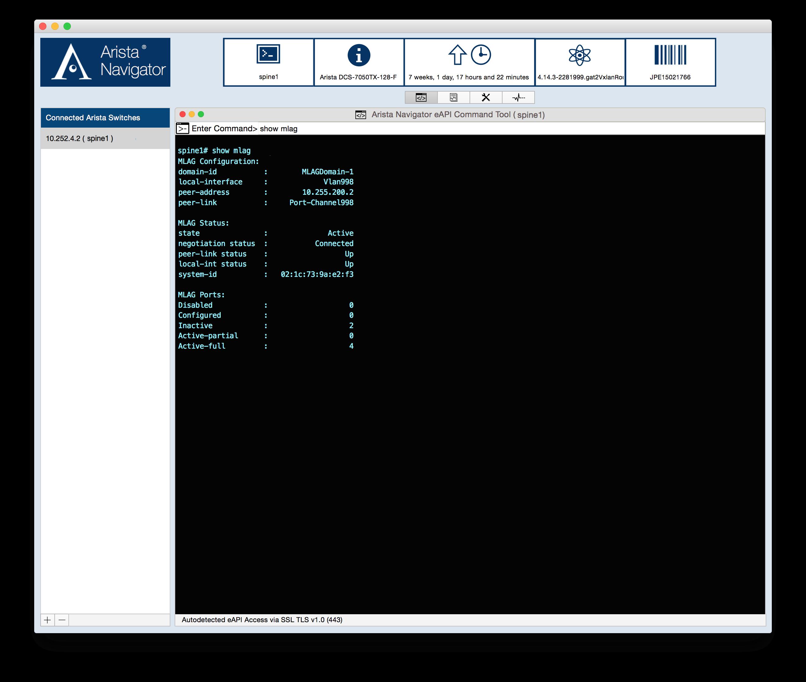 Arista Navigator sample screen output.
