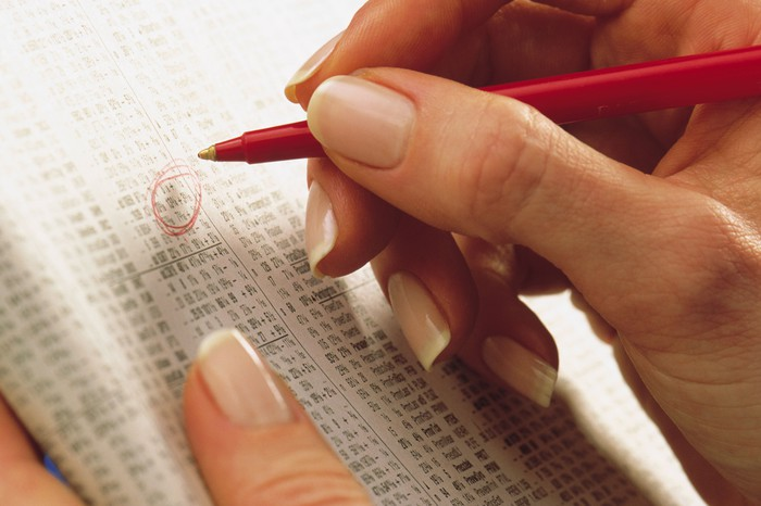 A hand using a pen to circle a stock ticker in a financial newspaper.