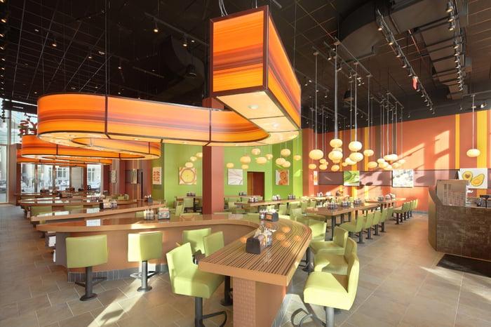 Interior of a Bobby's Burger Palace restaurant