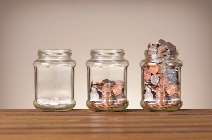 Three jars, one empty, one half-full of coins, and one completely full.