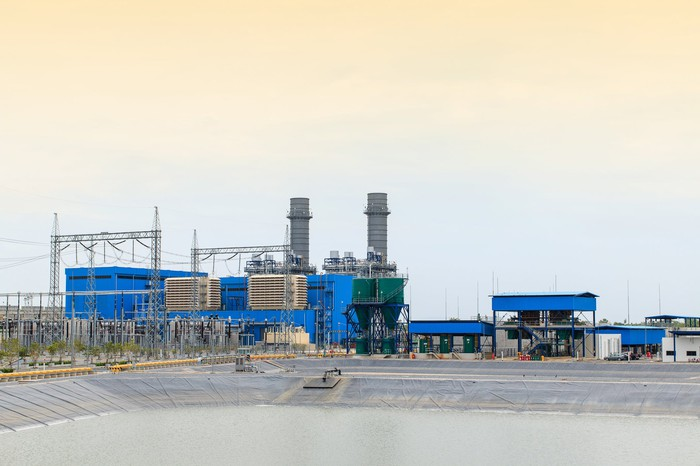 A natural gas power plant.