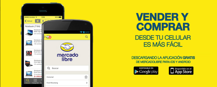 """Two cellphones showing the MercadoLibre mobile app with the caption """"Sell and Buy"""" in Spanish."""