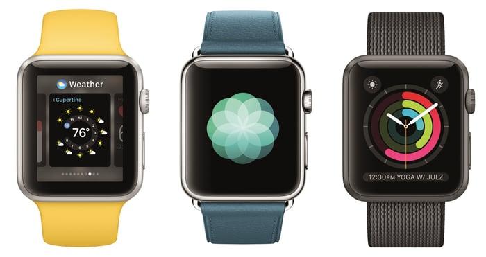 Three Apple Watch models.