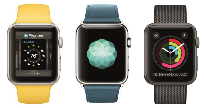 Three Apple Watch models next to each other.