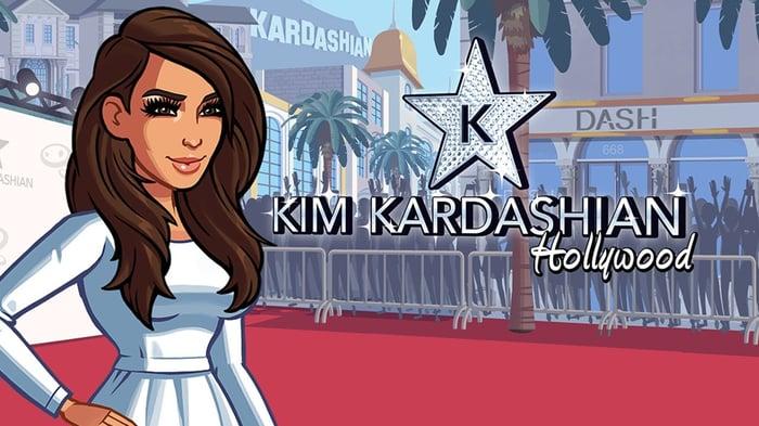 Kim Kardashian: Hollywood app art with Kim on a red carpet.