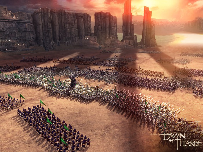 """A screenshot from Zynga's """"Dawn of Titans"""" showing troops in a medieval, fantasy landscape."""