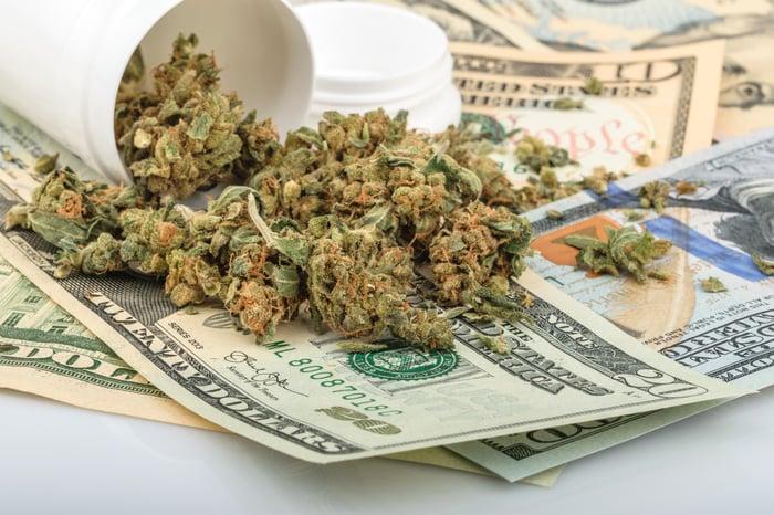 Marijuana buds and pill bottle on top of money