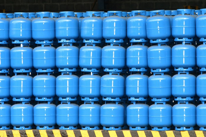 stacked propane tanks
