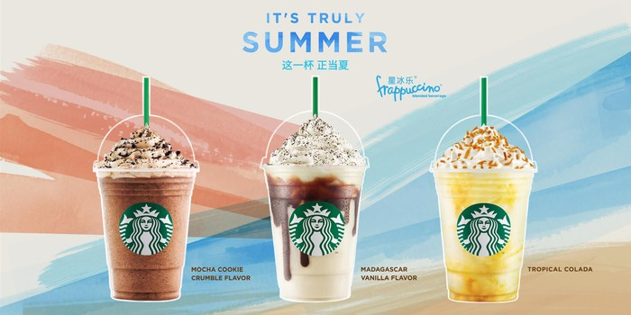 From left-to-right, three different Starbucks Frappucinos are shown