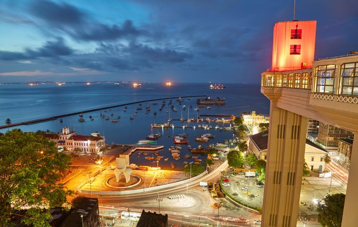 Nighttime view of Salvador City, from a high vantage point looking out into the city's harbor.