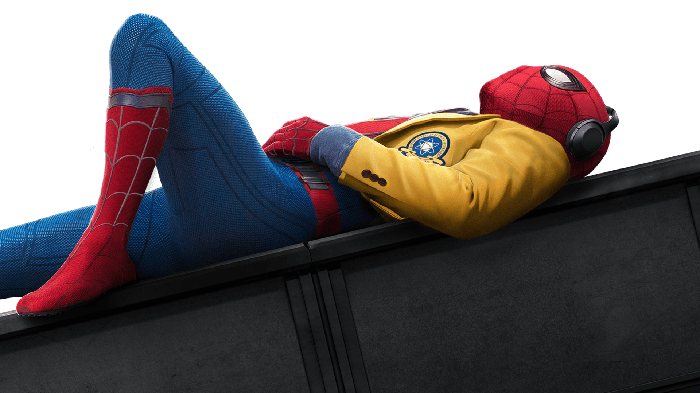 """Spider-Man from """"Spider-Man: Homecoming"""" lying down and listening to music."""
