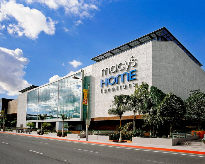 The exterior of the Macy's home and furniture store at South Coast Plaza