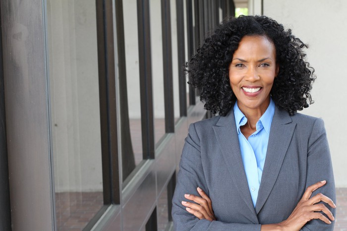 Female professional in a business suit