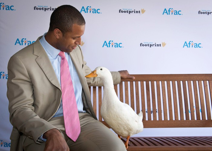Duck with man in a suit on bench.