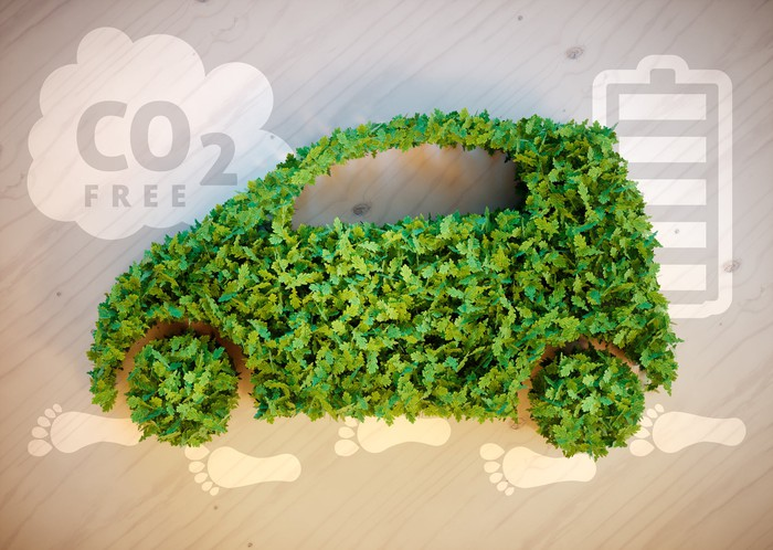 Illustration of a car made out of leaves with a CO2 free cloud in the background.