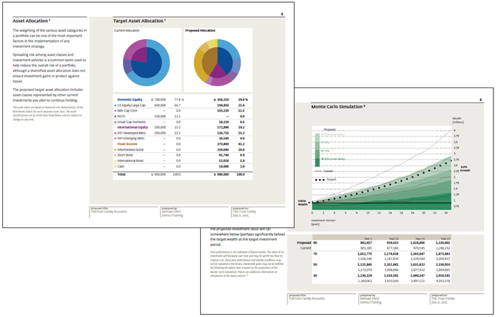 Sample wealth management report with graphs and charts.