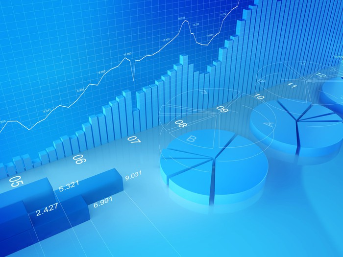 Three-dimensional graphs and charts on a blue background.