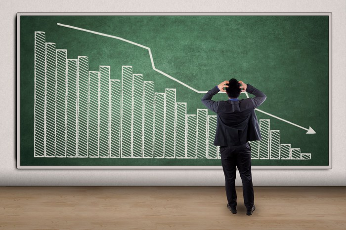 Frustrated man looking at a big downward sloping chart.