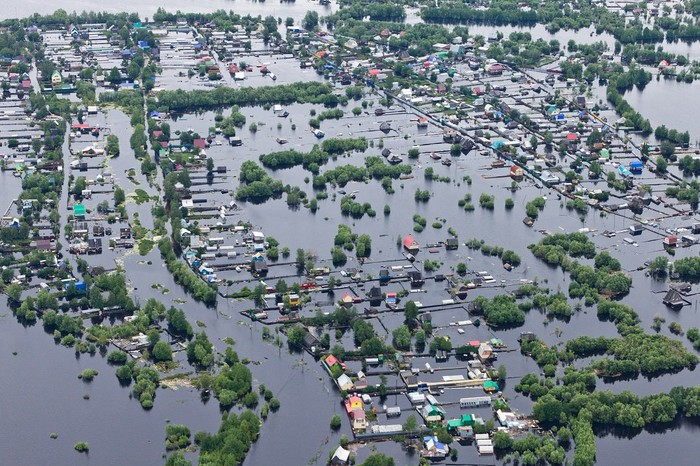 Flooded neighborhood.