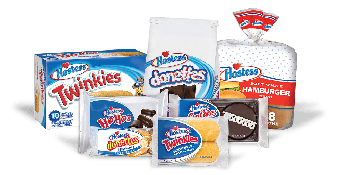 Various Hostess products, including Twinkies, donettes, and hamburger buns