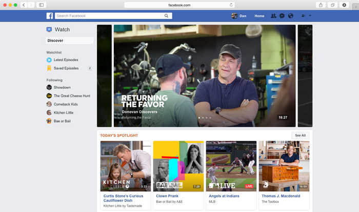 Interface for Facebook Watch on desktop