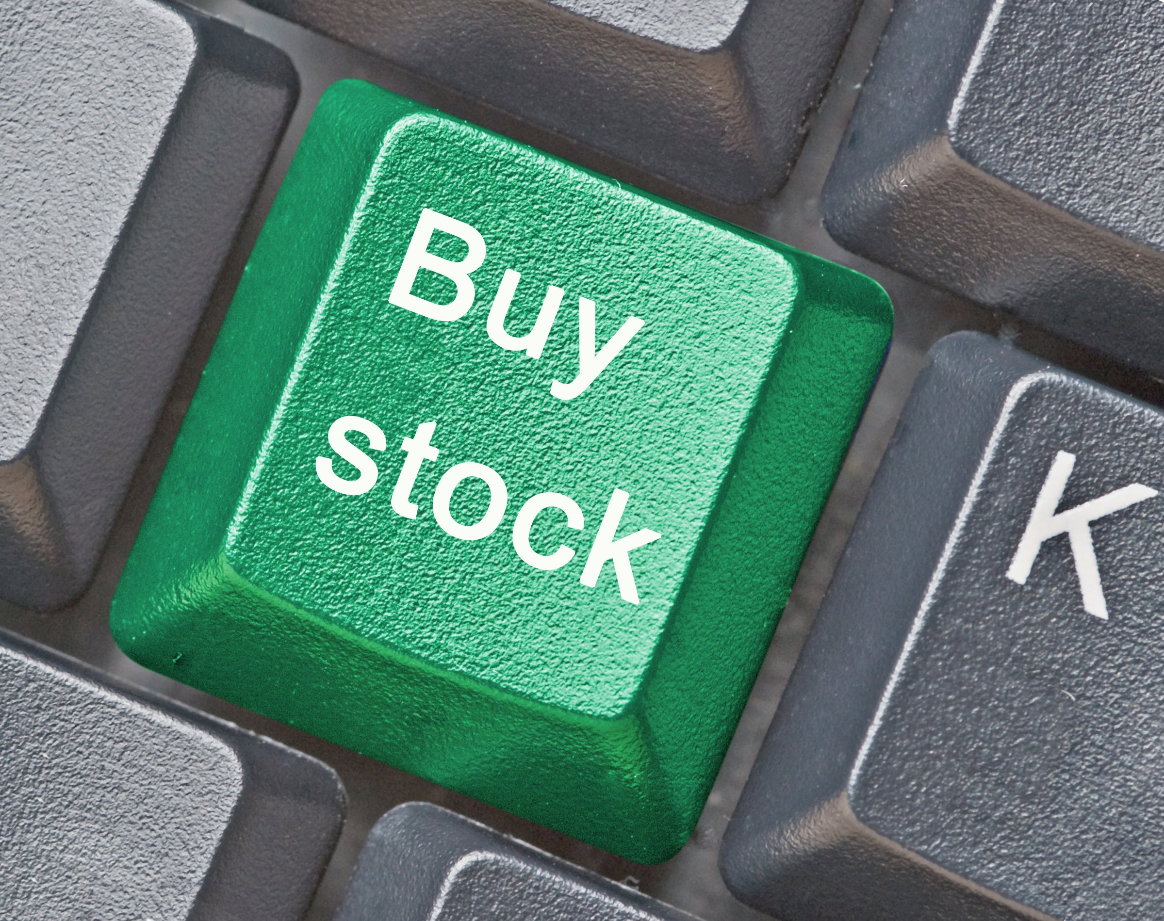 """A """"buy stock"""" button on a keyboard."""