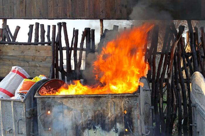 A dumpster fire