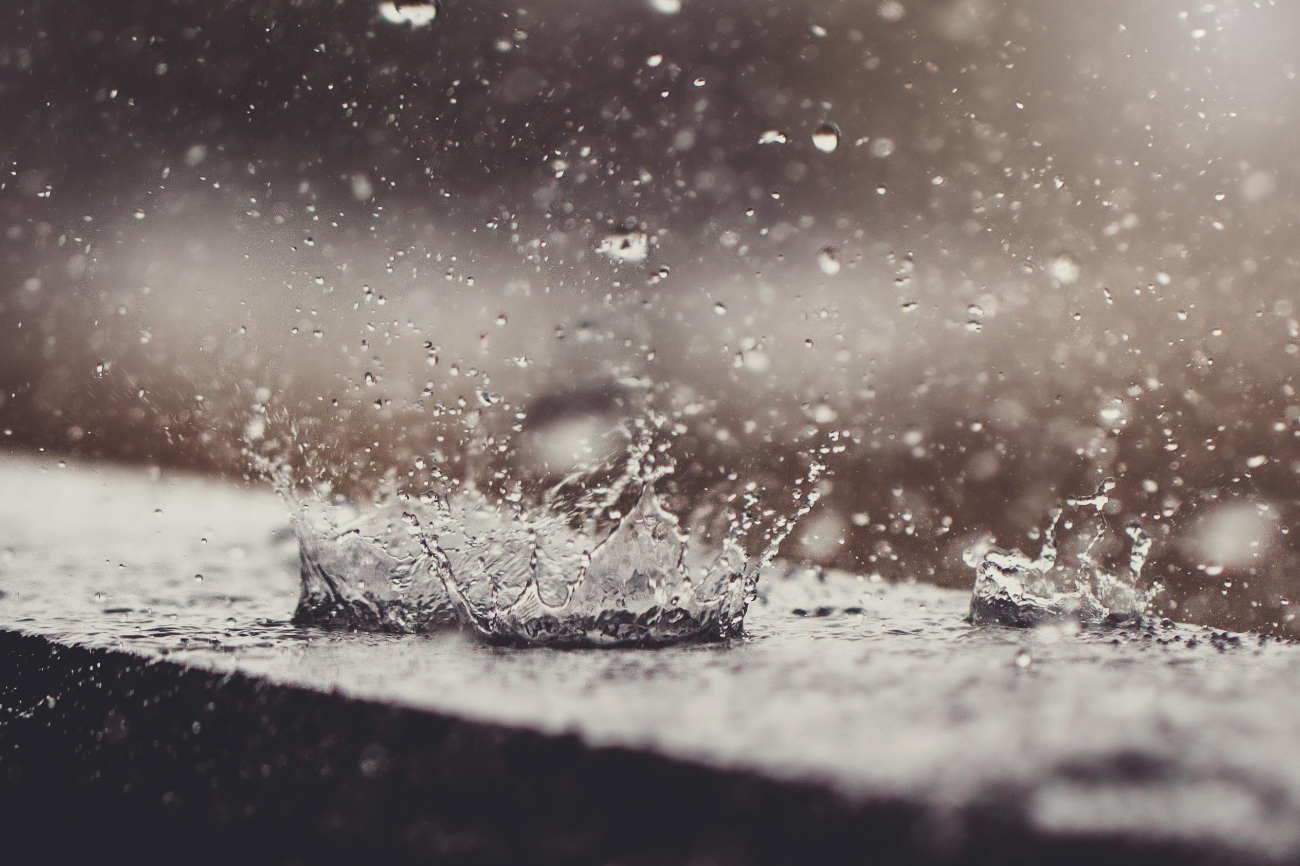 Rain drops splashing.