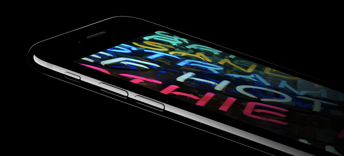 Angled view of iPhone 7 display