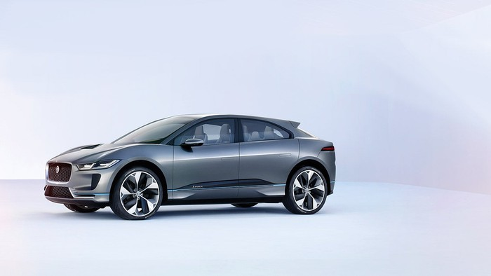 A picture of the new I-PACE electric SUV in silver.