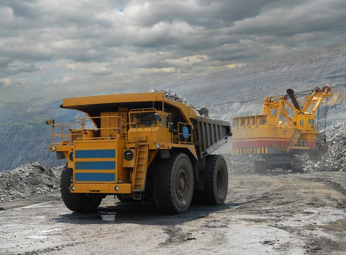 Mining equipment operating in a strip mine
