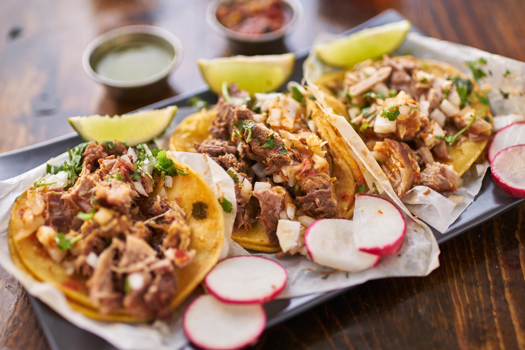 Three pork tacos.