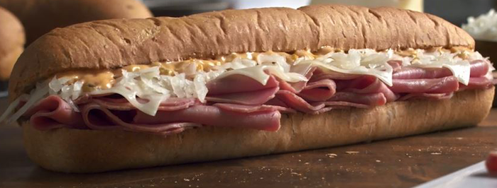 A ham and cheese Subway Sandwich.