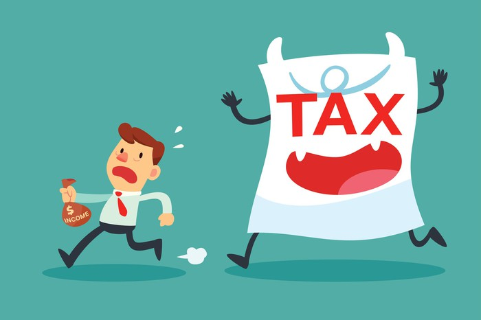 "Cartoon depicting sheet of paper labeled ""tax"" chasing a man holding a bag of money"