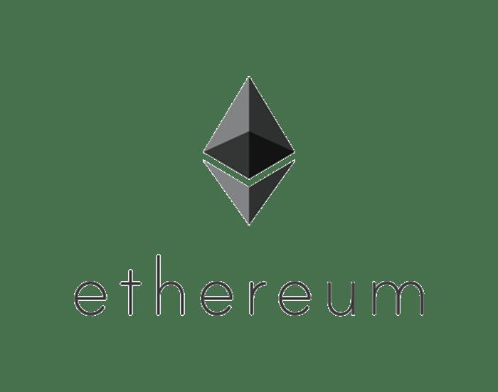 Ethereum logo, grayscale on a blank field.