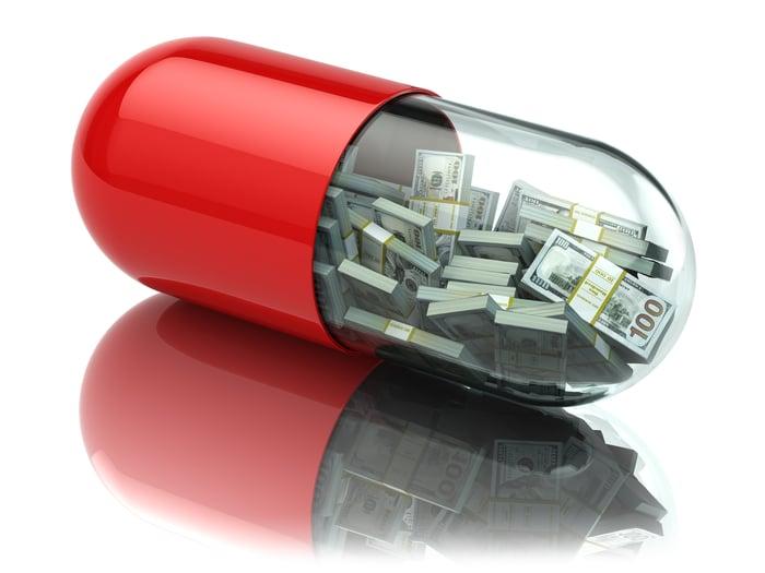 Giant medicine capsule full of cash money.