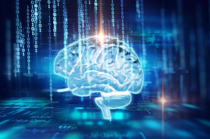 Outline of a human brain on a digital background -- concept for artificial intelligence (AI).
