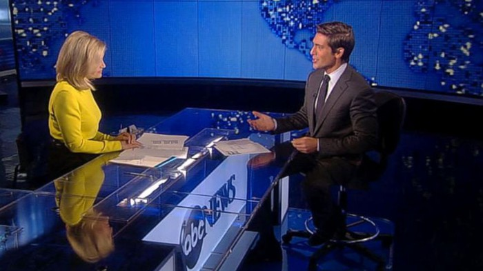 Diane Sawyer at ABC News desk with David Muir